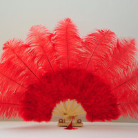 Red  Large Size Weddings Or Burlesques Style Embellish Feather Fan