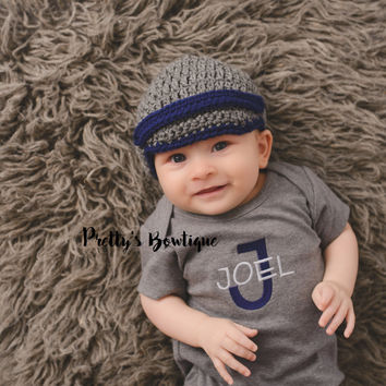 Baby newsboy hat - Baby boy coming home hat Baby Booties - Newborn boy hat - Coming home outfit - Newsboy hat - Newsboy cap, Crochet
