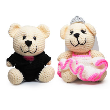 Mr. & Mrs. Bearly Weds Crochet Teddy Bears, Handmade Crochet Dolls