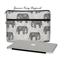 Elephant MacBook Case, 13 MacBook Pro Case, 13 MacBook Air Case, MacBook Pro Retina 13 inch laptop sleeve, zipper pocket paisley gray (MTO)