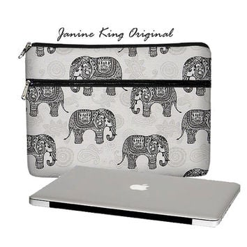 timeless design 78881 5e547 Elephant MacBook Case, 13 MacBook Pro Case, 13 MacBook Air Case, MacBook  Pro Retina 13 inch laptop sleeve, zipper pocket paisley gray (MTO)