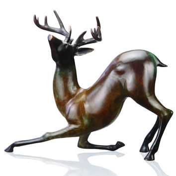 Contemporary Deer Sculpture with Large Antlers by SPI-HOME