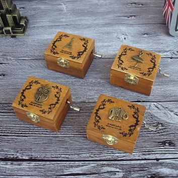 Retro Wooden Handcranked Music Box