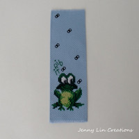 Frog Cross Stitch Embroidered Bookmark