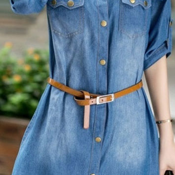 Autumn and winter new women's dress fashion slim large size long sleeve denim dress