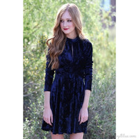 Peek-A-Boo Crushed Velvet Skater Dress