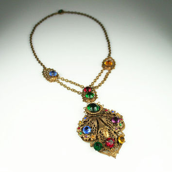 Art Deco Necklace Gilt Filigree Jewel Tone Rhinestone Festoon Statement Jewelry