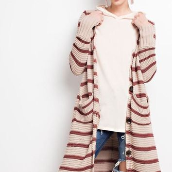 Red Bean Striped Duster Cardigan