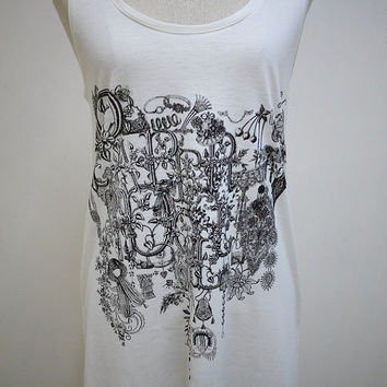 The Beauty Of Paper Doll : Necklace Jewelry Flower Art Fashion Tank Women T-Shirt White T-Shirt Screen Print Cotton