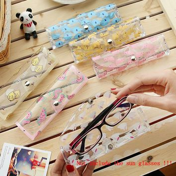 1 Pcs  Kawaii Cartoon Animals PVC Glasses Box Cute Transparent Glasses Case Protable Eyewear Boxes Christmas Gift for Girls