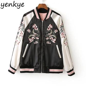 Women Floral Embroidery Bomber Jacket Stand Collar Long Sleeve Zipper Coat  Casual Autumn Reversible Jackets