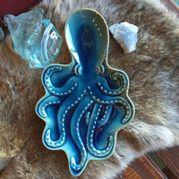 Glass Octopus Tray in Teal