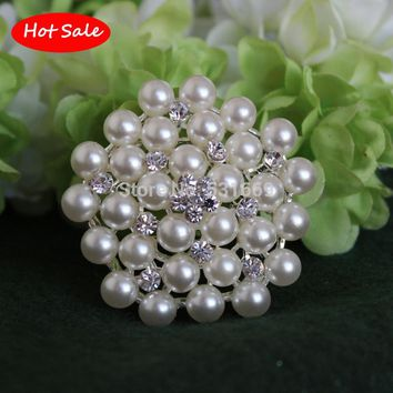 Snowflake Silver Plated Brooch Rhinestone and Imitation Pearls Brooches For Female Pins Lapel Pin Women Collar Tips Hajib Pin