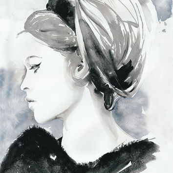 Archival Prints of Watercolor Painting, Fashion Illustration. Titled: Bridget Bardot