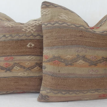 SET Organic Dyed Anatolian Handwoven Turkish Kilim Pillow Cover, Light Brown Grey Peach Kilim Pillow 40 x 40 Kilim Throw Pillow