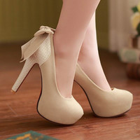 Women Pumps Red Bottom High Heels Sweet Princess Bow Shoes Round Toe Party Wedding Platform Pumps big
