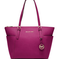 Jet Set Top-Zip Saffiano Tote Bag, Fuchsia - MICHAEL Michael Kors