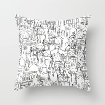 Russian cathedral church line drawing Throw Pillow by Color and Color