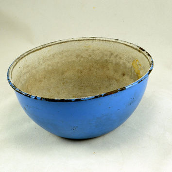 Blue Enamelware Bowl - Germany Prussia Eagle Stamp - Primitive Farmhouse Country Kitchen - Shabby French Decor