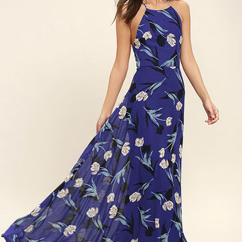 All I Need Royal Blue Floral Print Lace-Up Maxi Dress