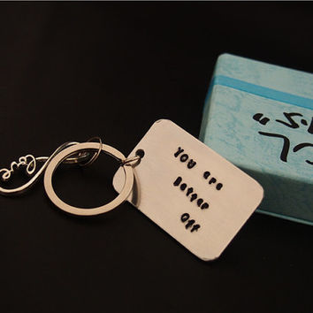Custom Infinity love Keychain, silver key chain, Hand Stamped - Personalized, Daughter to father's gift