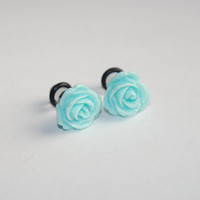 Blue Rose 4g (5mm) Acrylic Plugs, Ear Gauges, Women, Formal, Stretched Ears, Pretty, Cute, Flower, Floral, Weddings, Plugs for Girls