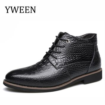 YWEEN Brand Plush Retro Men Boots Comfortable Brand Genuine Leather