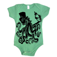 Baby Otto The Octopus Onesuit Boy Bodysuit - American Apparel - 3-6m, 6-12m, 12-18m, 18-24m, (7 Color Options)