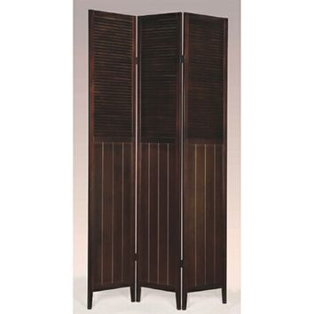 Asia Direct 5421 3 panel solid wood espresso finish shutter style room divider shoji screen
