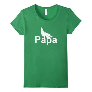 The Wolf Papa T-shirt Funny Gift Father's Day Tee Men Son