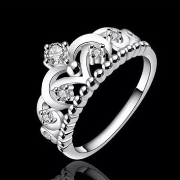 Sterling Silver Cubic Zirconia Princess Crown ring size 7