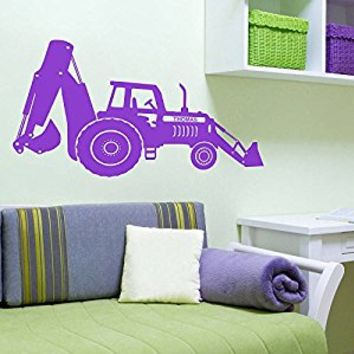 Wall Decal Vinyl Sticker Decals Art Decor Design Bulldozer Excavator Tractor Custom Name Boys Kids Children Mans Living Room Nursery (r572)