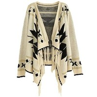 Losorn Women's Aztec Tribal Geometric Patterns Tassels Cardigan Knit Sweater
