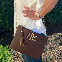 Cross Body BROWN Tassel Clutch Purse  Monogram Font Shown Library in Ivory