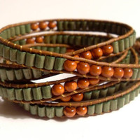 Boho Leather Wrap Bracelet Chan Luu Green Wood 5 Wrap - Northwoods