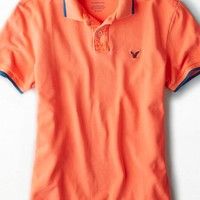 AEO Men's Tipped Polo (Bright Neon Red)