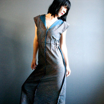 Metallic Maxi Dress, Womens Handmade Full Length Dress, Hand Printed Long Dress, Deep Plunge V Neck, Raw Edgy Wearable Art, Retro Futuristic