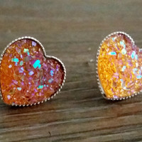Druzy earrings- Orange heart drusy silver tone stud druzy earrings