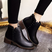 Winter England Style Dr Martens Wedge Round-toe Boots [9432938442]