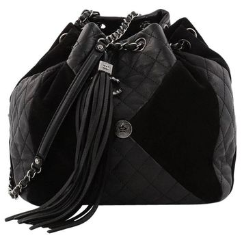 Chanel Patchwork Drawstring Bag Quilted Leather and Suede Medium