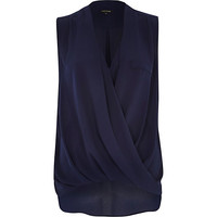 River Island Womens Navy wrap front sleeveless blouse