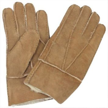1 pair Hot Men's Winter Cool Soft Thickness Gloves Genuine Brown Sheepskin Leather Gloves One Size Shearling Fur Warm Gloves