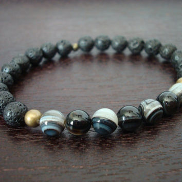 Men's Strength & Protection Mala Bracelet - Sardonyx and Black Lava Rock Layering Mala Bracelet - Yoga, Buddhist, Meditation, Jewelry