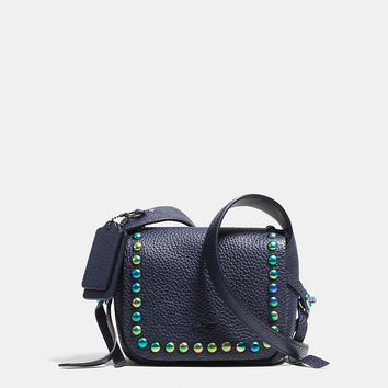 Dakotah 14 Crossbody in Oil Slick Rivets Leather