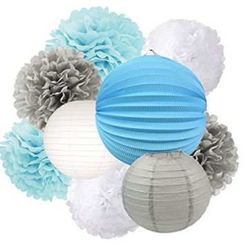 BLUE BOY'S Baby Shower- Blue Gray Party Decoration Set | Blue and Gray Party Poms & Lantern | Baby Boy Birthday Party |  Boy's Cake Smash