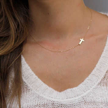 Gold Kelly Ripa Sideways Cross Necklace 14kt Gold Filled
