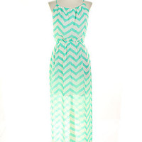 New Zig Zag Maxi With Side Slit - Mint | Bellum&Rogue