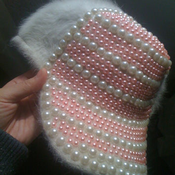 Princess sweet lolita hat Soft amo pink handmade white pearl Fluffy plush rabbit fur young girl baseball cap lolita cap ac0923