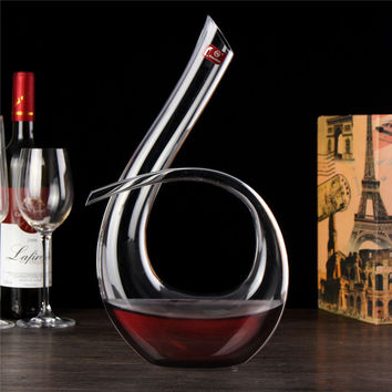 High Quality Crystal Glass 6 Shape Wine Pourer Wine Decanter Red Wine Carafe Aerator 1200ml