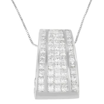 18K White Gold 2 4/5 CTTW Princess and Round Cut Banded Diamond Pendant Necklace (H-I, SI1-SI2)
